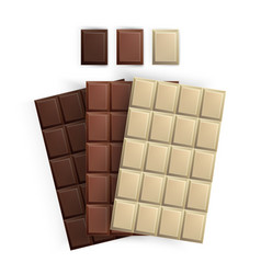 set of realistic chocolate bar packaging isolated vector image