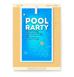 Summer party in swimming pool poster with design vector