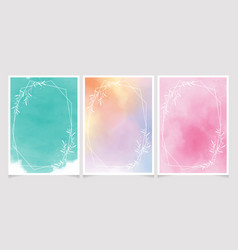 sweet watercolor background with white leaf vector image