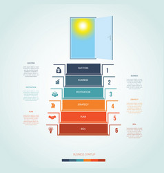 template infographics steps staircase to open vector image