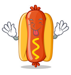 Tongue out hot dog cartoon character vector