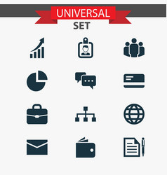 Trade icons set collection of suitcase pie bar vector