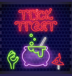 trick or treat neon banner vector image