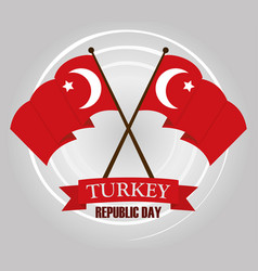 turkey republic day waving and crossed flags vector image