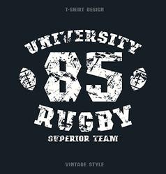 University rugby team emblem vector image