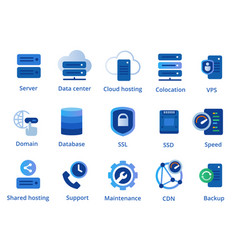 web hosting service icon set from colocation vector image
