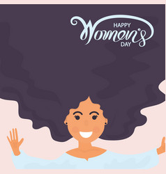 woman face with long hair8 march with vector image