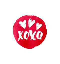 xoxo text and heart watercolor banner design vector image