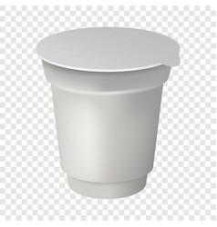 Yogurt round box mockup realistic style vector