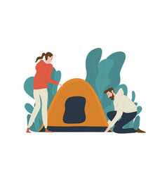 Young couple setting up tent on campsite pair of vector