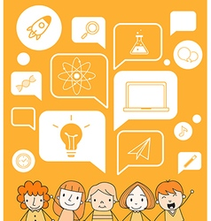 Child with a education icon on speech bubble vector image vector image