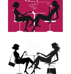 girls at caffee vector image vector image