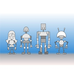 robots family vector image vector image