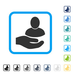 User support hand framed icon vector