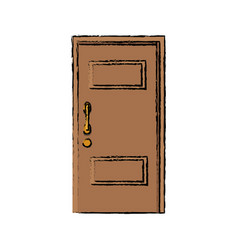 wooden door handle entrance decorative vector image