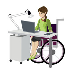 young woman in wheelchair working with computer vector image