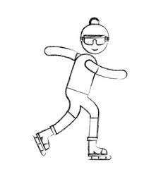 ethlete practicing ice skate avatar vector image vector image