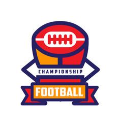football championship logo template american vector image