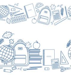 horizontal seamless borders of education items vector image