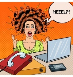 Pop art aggressive screaming woman with laptop vector