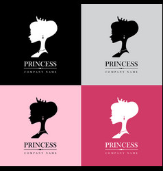 princess logo set vector image vector image