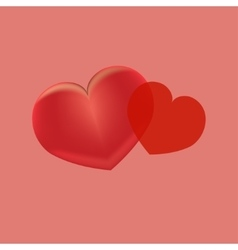Two red hearts on a pink background vector image