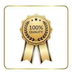 Award ribbon gold icon laurel wreath quality vector