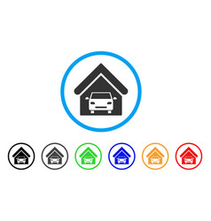 car garage rounded icon vector image