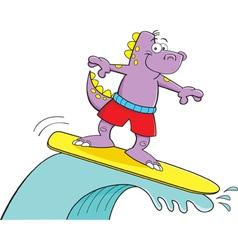 Cartoon dinosaur surfing vector image