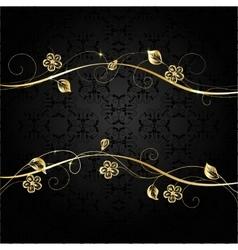 Gold frame on dark background vector image