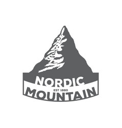 monochrome vintage emblem of mountain vector image