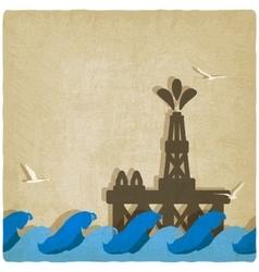 Oil platform in blue sea vector