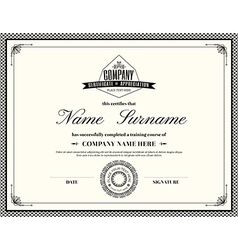 Retro frame certificate design template vector image vector image