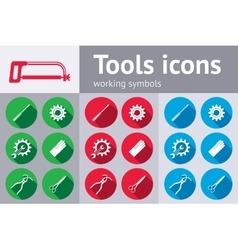 Tools icons set Saw pliers tongs wrench key vector image vector image