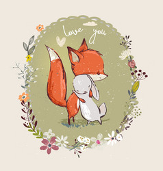 cute little hare with fox vector image vector image