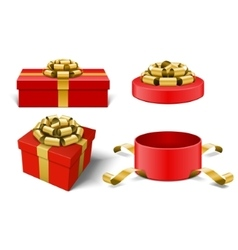 Red Gift Boxes and with golden bow ribbon vector image vector image