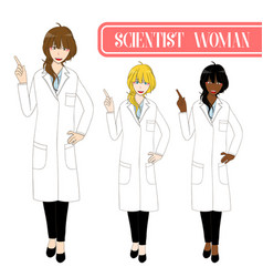 scientist woman pointing up with happy face vector image