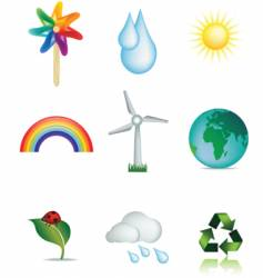 weather and nature icons vector image vector image