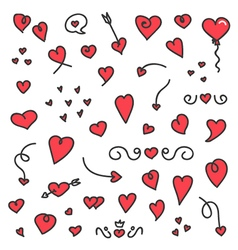 A big collection of hand drawn hearts and arrows vector image