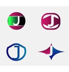 Abstract J round logo design template vector