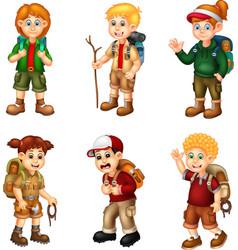 Adventure backpacker boy and girl cartoon set vector