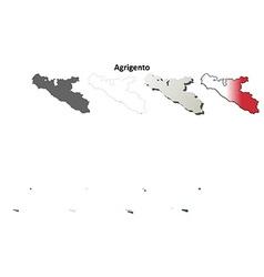 Agrigento blank detailed outline map set vector