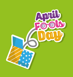 April fools day lettering jump on prank box vector