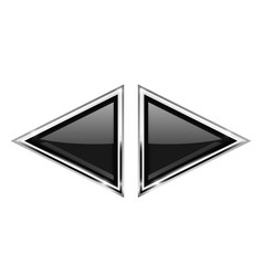 Black triangle buttons with metal frame vector