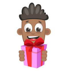 boy with present on white background vector image