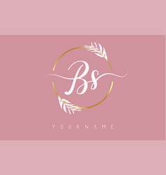 Bs b s letters logo design with golden circle vector