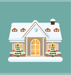 building in merry christmas holiday ornament with vector image