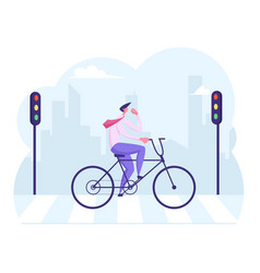 Businessman commuter with bicycle traveling to vector