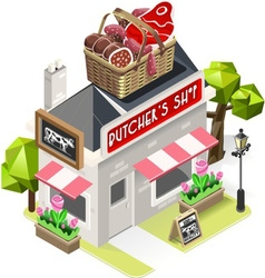 Butcher Shop City Building 3D Isometric vector