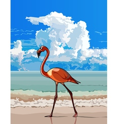 Cartoon bird flamingo walking on the beach vector